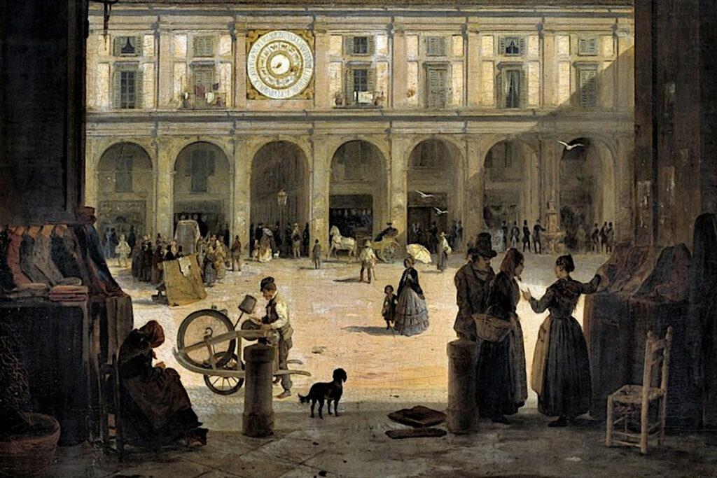 Veduta di piazza della Loggia dipinta di Angelo Inganni
