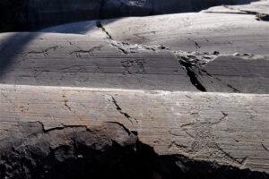 Figura che corre sulla roccia 35 del Parco di Naquane in Valcamonica