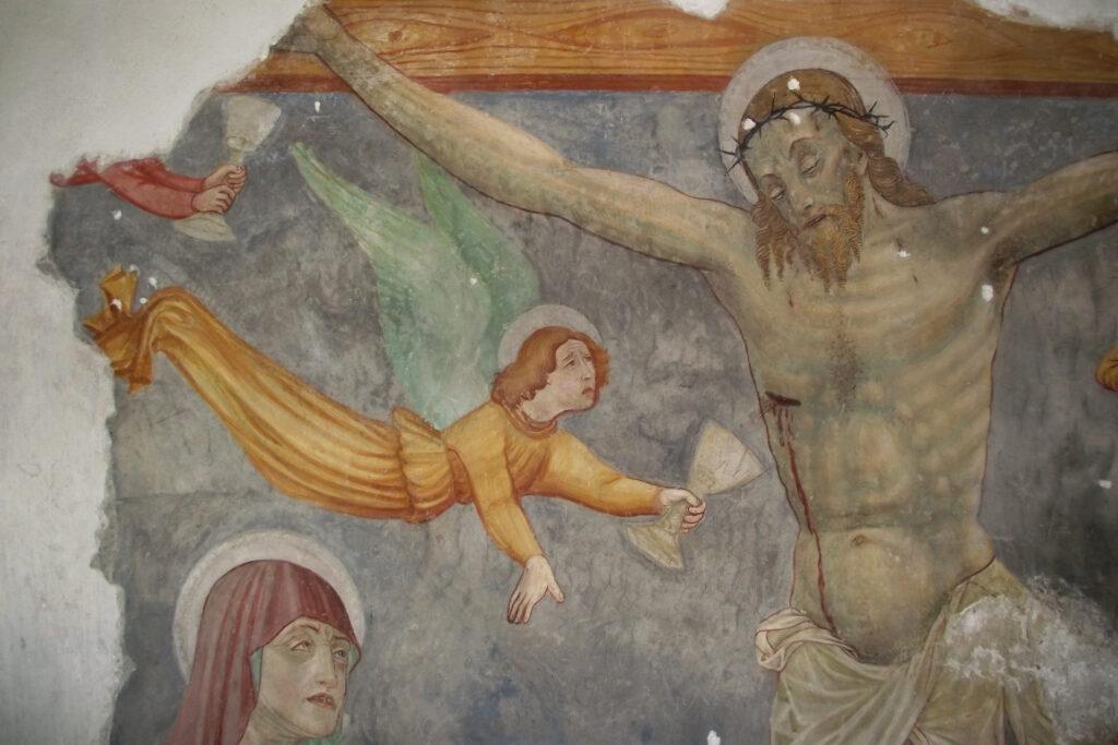 Particolare dell'affresco della Crociffissione nella Disciplina di San Cristoforo a Mompiano