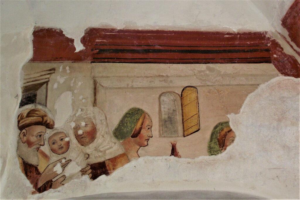 Particolare dell'affresco della Nascita della Vergine nella Disciplina di San Cristoforo a Mompiano